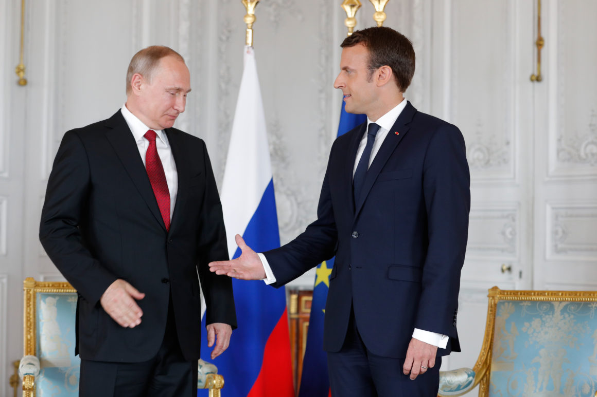Russian President Vladimir Putin And French President Emmanuel Macron In Versailles